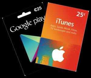 iTunes und Google Play Geschenkkarte