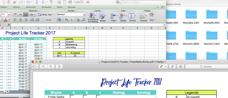 TinkerBella.Rocks Project Life 2017 Kit inklusive Ordner für Wochen und Monate und Tracker zum Verrfolgen deines Fortschritts.